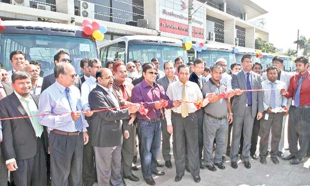 Vice-Chairman of Bashundhara Group Shafiat Sobhan Sanbir inaugurates 15 modern buses for its officials and employees at a ceremony at Bashundhara Industrial Headquarters in the capital on Thursday.